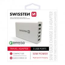Nabíjačka Swissten 5xUSB 50 W, rýchlonabíjanie a smart nabíjanie