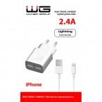 Nabíjačka WG 2xUSB 2,4A + kábel Lightning PFI, biela