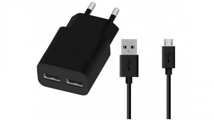 Nabíjačka WG 2xUSB 2,4A + kábel Micro USB, čierna