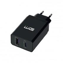 Nabíjačka WG 2xUSB/PD 18W + Quick Charge 3.0 22,5W, čierna