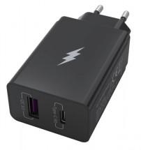 Nabíjačka WG 2xUSB/PD 20W + Quick Charge 3.0 22,5W, čierna