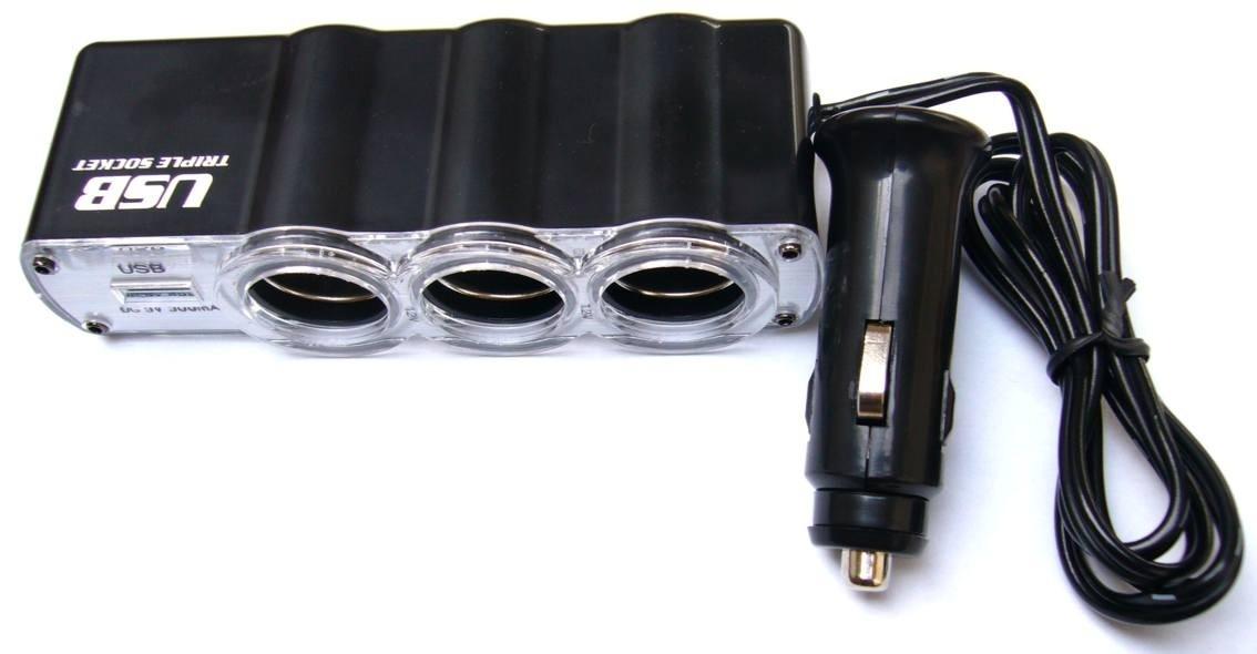 Nabíjačky do auta Rozbočovač pre autozapaľovač 3x12V + USB port