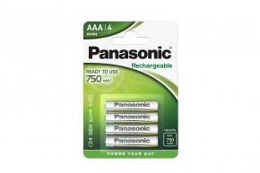 Nabíjecí baterie Panasonic, AAA, přednabité, 750mAh, NiMh, 4ks