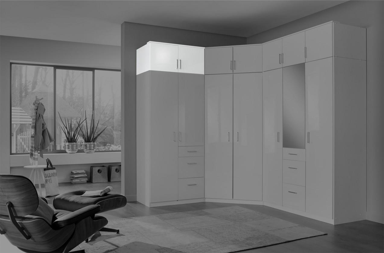Nádstavcová Clack - Nadstavec na skriňu, 2x dvere (biela, biela)