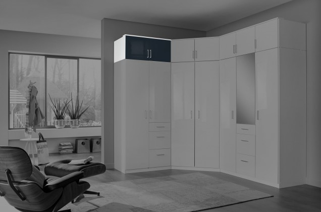 Nádstavcová Clack - Nadstavec na skriňu, 2x dvere (čierna, biela)