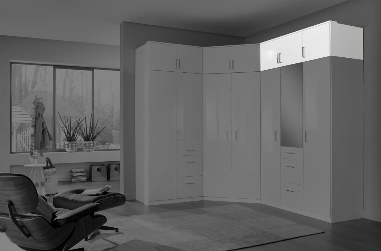 Nádstavcová Clack - Nadstavec na skriňu, 3x dvere (biela, biela)