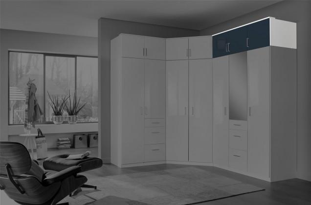 Nádstavcová Clack - Nadstavec na skriňu, 3x dvere (čierna, biela)