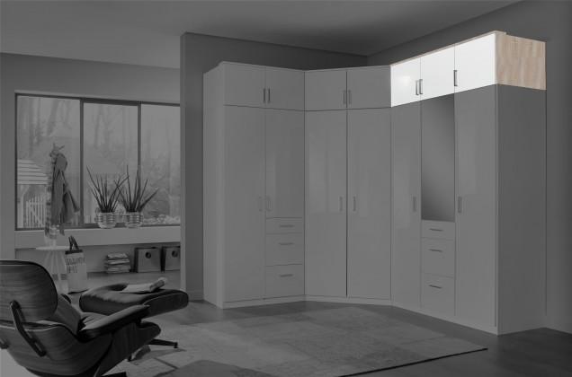 Nádstavcová Clack - Nadstavec na skriňu, 3x dvere (dub, biela)