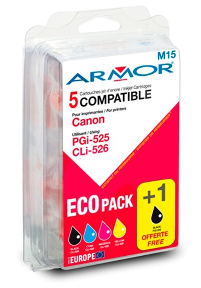 Náplne a tonery - kompatibilné ARMOR náplň, multipack (PGI-525+CLI-526B/C/M/Y)B10177R1
