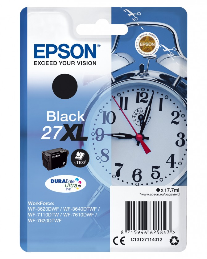 Náplne a tonery - originálné Cartridge Epson C13T27114012, T2711, singlepack,čierna,27XL