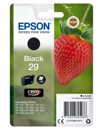 Náplne a tonery - originálné Cartridge Epson C13T29814010, Claria Home T2981, čierna