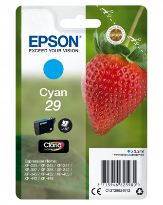 Náplne a tonery - originálné Cartridge Epson C13T29824010, Claria Home T2982, azúrová