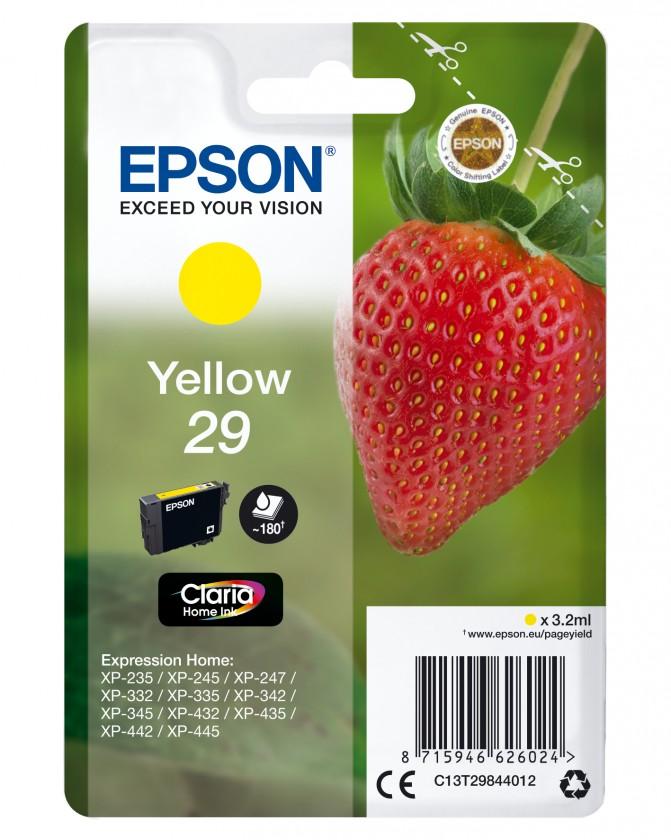 Náplne a tonery - originálné Cartridge Epson C13T29844010, Claria Home T2984, žltá