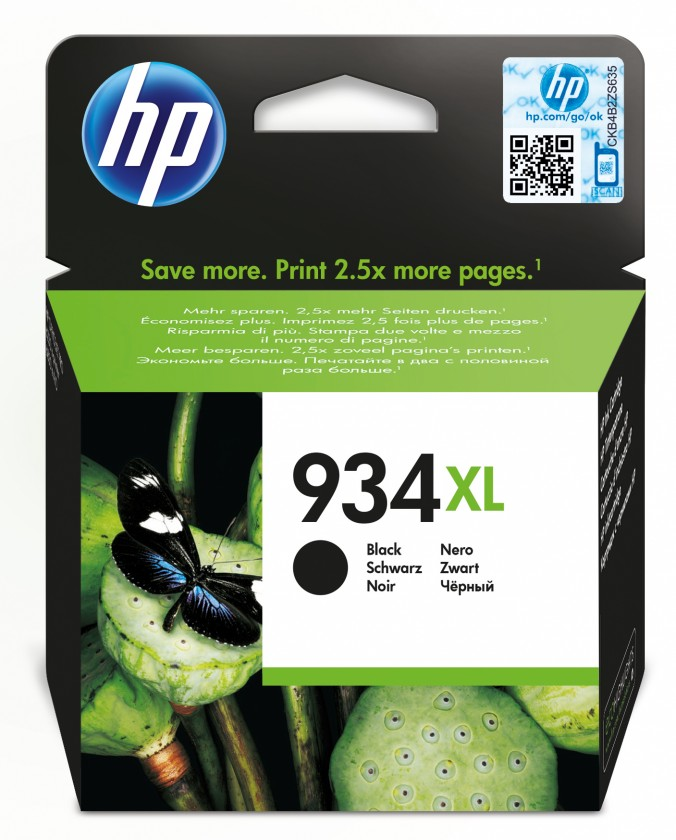 Náplne a tonery - originálné Cartridge HP C2P23AE, 934 XL, čierna