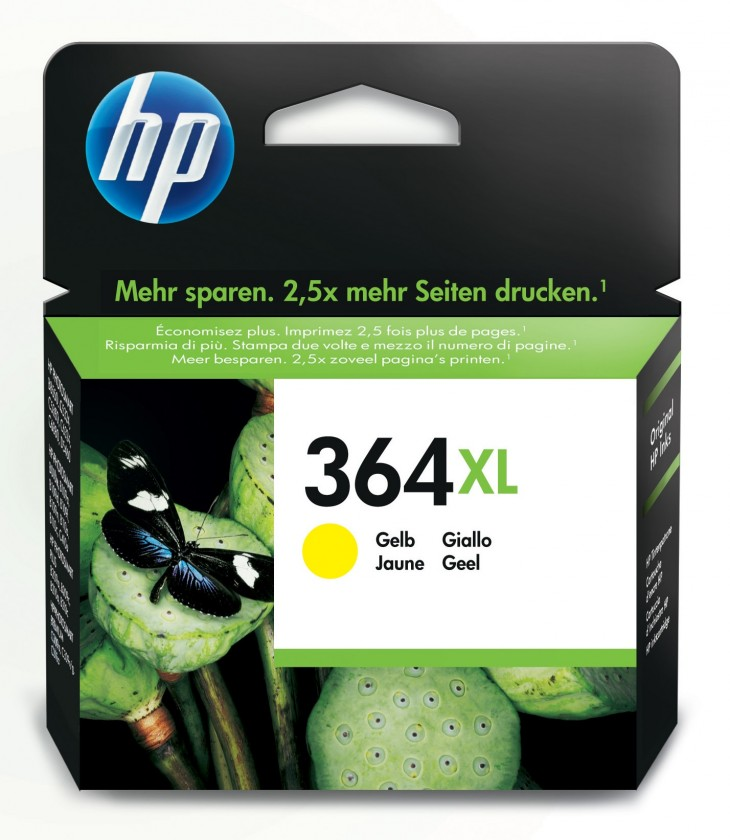 Náplne a tonery - originálné Cartridge HP CB325EE, 364XL, žltá
