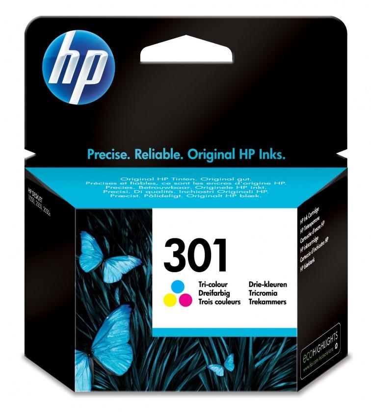 Náplne a tonery - originálné Cartridge HP CH562EE, 301, Tri-color