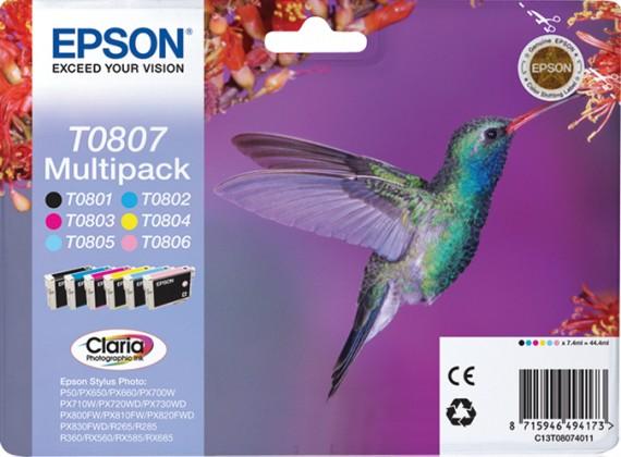 Náplne a tonery - originálné Epson T0807-originální (C13T08074011) čierna/červená/modrá/žltá