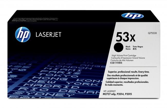 Náplne a tonery - originálné HP tlačová kazeta Q7553X, čierna