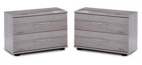 Nizza - 2x nočný stolík, 2x zásuvka (dub biely+sivá vysoký lesk)