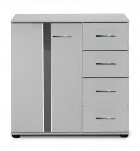 Nizza -komoda,1x dvere,4x zásuvka (alpská biela+sivá vysoký lesk)