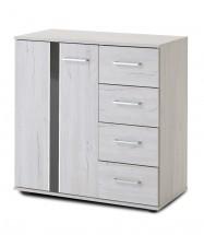 Nizza - komoda, 1x dvere, 4x zásuvka (dub biely+sivá vysoký lesk)
