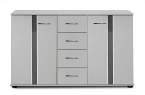 Nizza -komoda,2x dvere,4x zásuvka (alpská biela+sivá vysoký lesk)