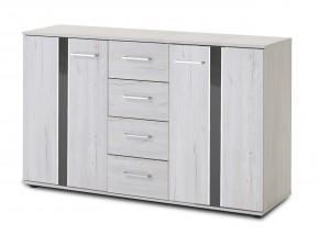 Nizza - komoda,2x dvere,4x zásuvka (dub biely+sivá vysoký lesk)
