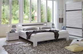 Nizza - komplet, posteľ 160cm (dub biely,šedá vysoký lesk)