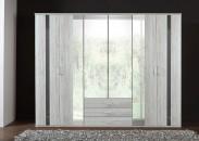 Nizza-skriňa 4x dvere,4x zrkadlo (dub biely+sivá vysoký lesk)