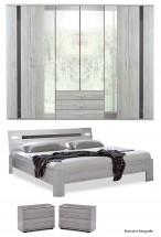 Nizza-skriňa,posteľ 200x160cm (alpská biela+sivá vysoký lesk)
