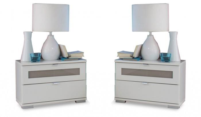 Nočný stolík Advantage - nočný stolík 2x (alpská biela/sivá)