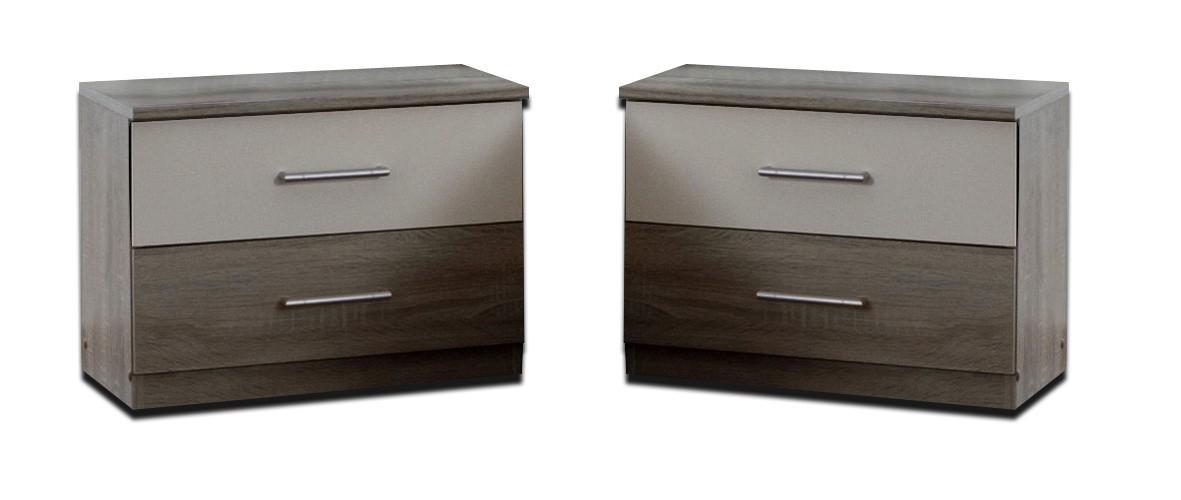Nočný stolík Alina - Nočný stolík 2x (dub montana, alpská biela)