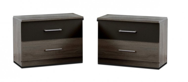 Nočný stolík Alina - Nočný stolík 2x (dub montana, lava čierna)