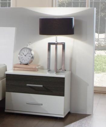 Nočný stolík Dora 769697(alpská biela, zrkadlo, wenge brasil)