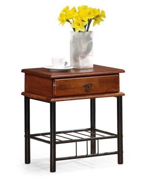 Nočný stolík Fiona - Nočný stolík (antická čerešňa, čierna)