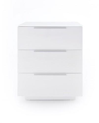 Nočný stolík Heda (3 zásuvky, biela lesklá, biele sklo)