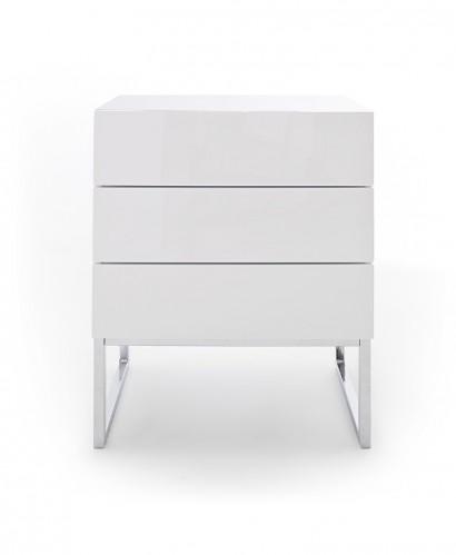 Nočný stolík Heda (3 zásuvky, biela lesklá, chrómovaný rám)