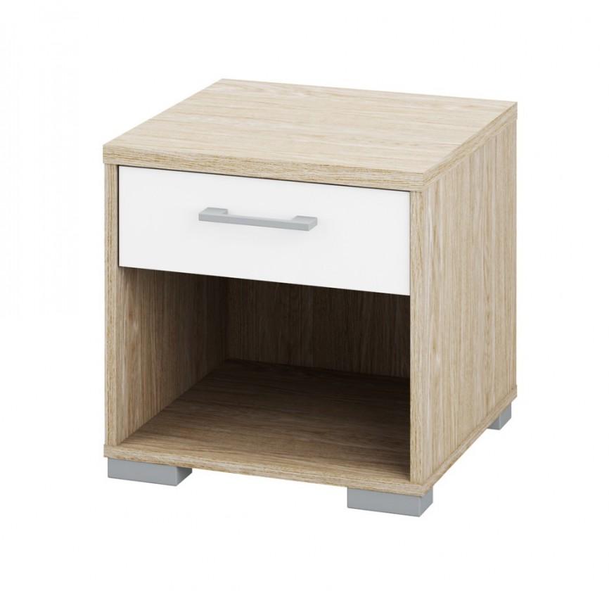 Nočný stolík Homeline - výška 40cm (dub, biela, vysoký lesk)