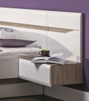 Nočný stolík Leone - závesný, pravý (dub trufel, biela lesk)