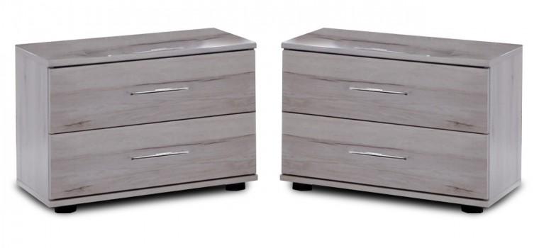 Nočný stolík Nizza - 2x nočný stolík, 2x zásuvka (dub biely+sivá vysoký lesk)