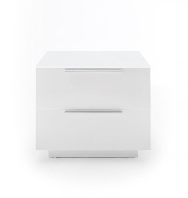 Nočný stolík Nočný stolík Heda (2 zásuvky, biela lesklá, biele sklo)