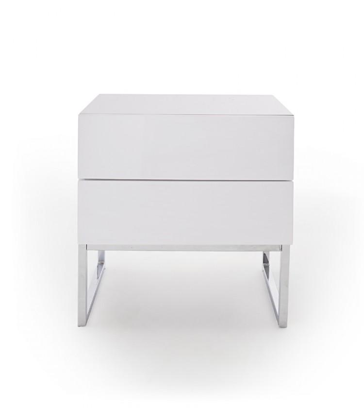 Nočný stolík Nočný stolík Heda (2 zásuvky, biela lesklá, chrómovaný rám)