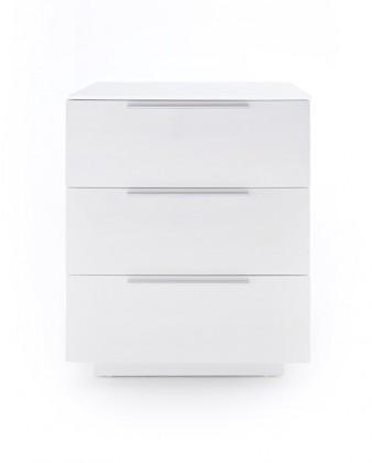 Nočný stolík Nočný stolík Heda (3 zásuvky, biela lesklá, biele sklo)