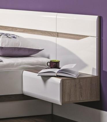 Nočný stolík Nočný stolík Leone - závesný, pravý (dub trufel, biela lesk)