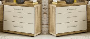 Nočný stolík Padua - 3x zásuvka, 2 ks (dub balken/alpská biela)