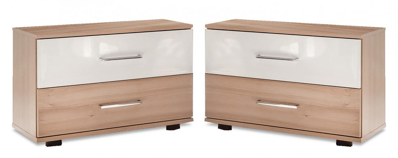Nočný stolík Rio - nočný stolík 2x (buk/biely lesk)
