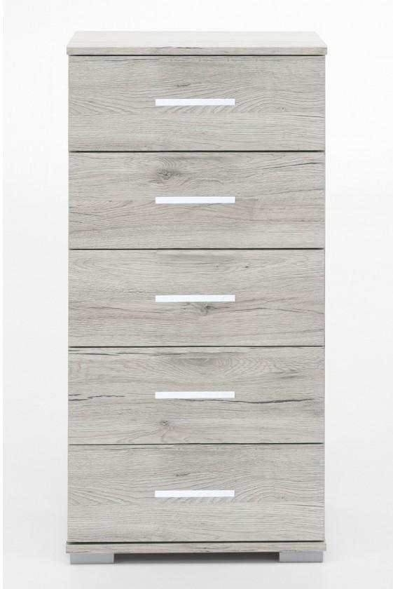 Nočný stolík Sylt - Komoda, 5x zásuvka (dub biely, sivá)