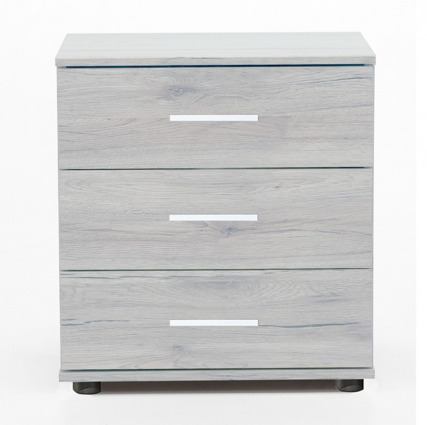 Nočný stolík Sylt - Nočný stolík 2 (dub biely, sivá)
