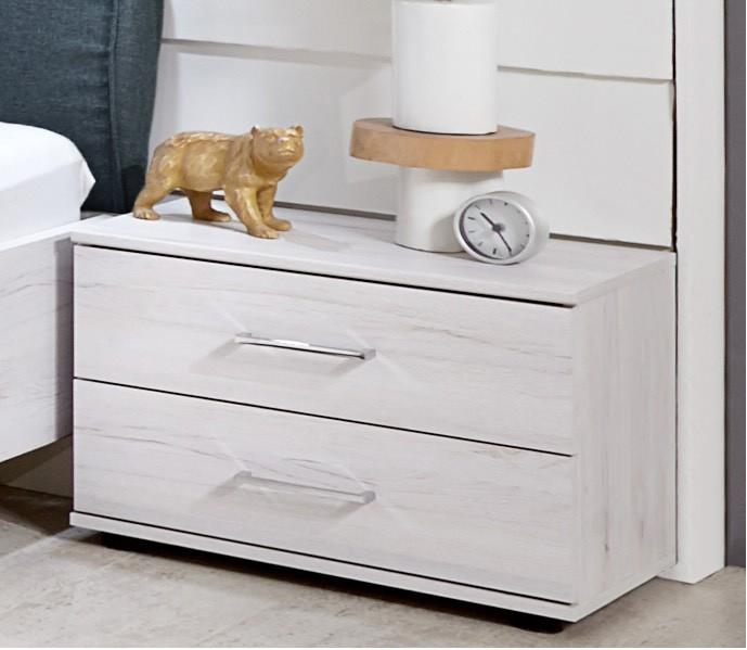 Nočný stolík Sylt - Nočný stolík (dub biely, sivá)