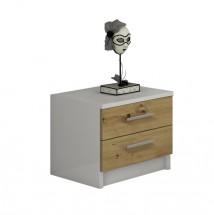 Nočný stolík Tigra (biela, dub artisan)